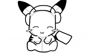 Menggambar chibi pikachu