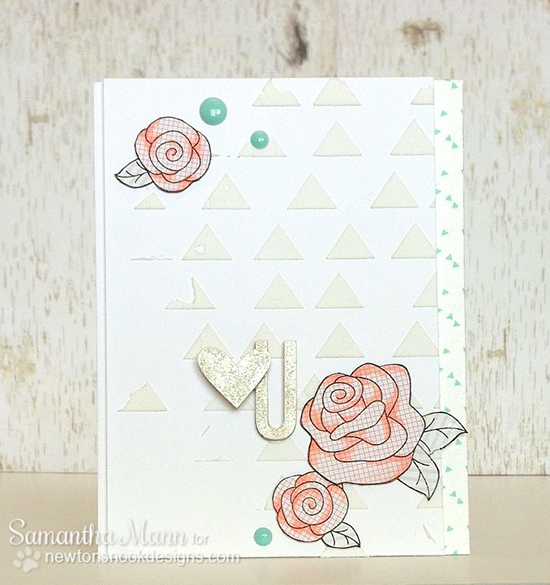 Rose Card by Samantha Mann for Curtain Call Challenge | Newton's Nook Designs | Love Grows Stamp Set