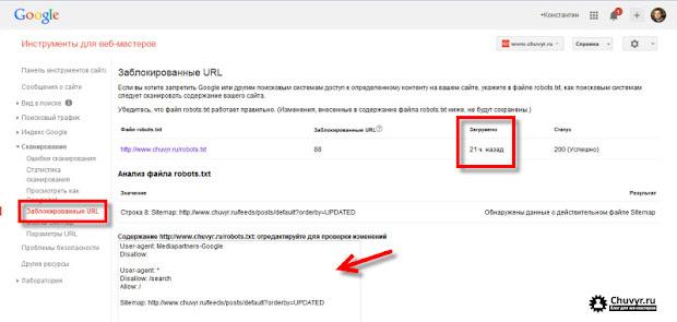 анализ robots.txt в Google инструментах для веб-мастеров