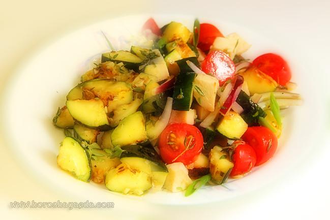 Тёплый салат из цуккини с курицей и помидорами