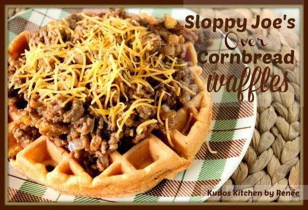 Sloppy Joe's Over Cornbread Waffles Recipe via kudoskitchenbyrenee.com