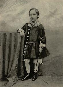 Fotografía de Robert Louis Stevensons a los siete años de edad.