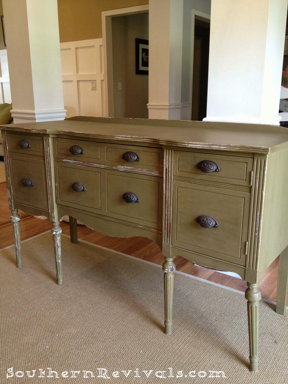 Updating a vintage sideboard buffet with a pop of color for Painted buffet sideboard
