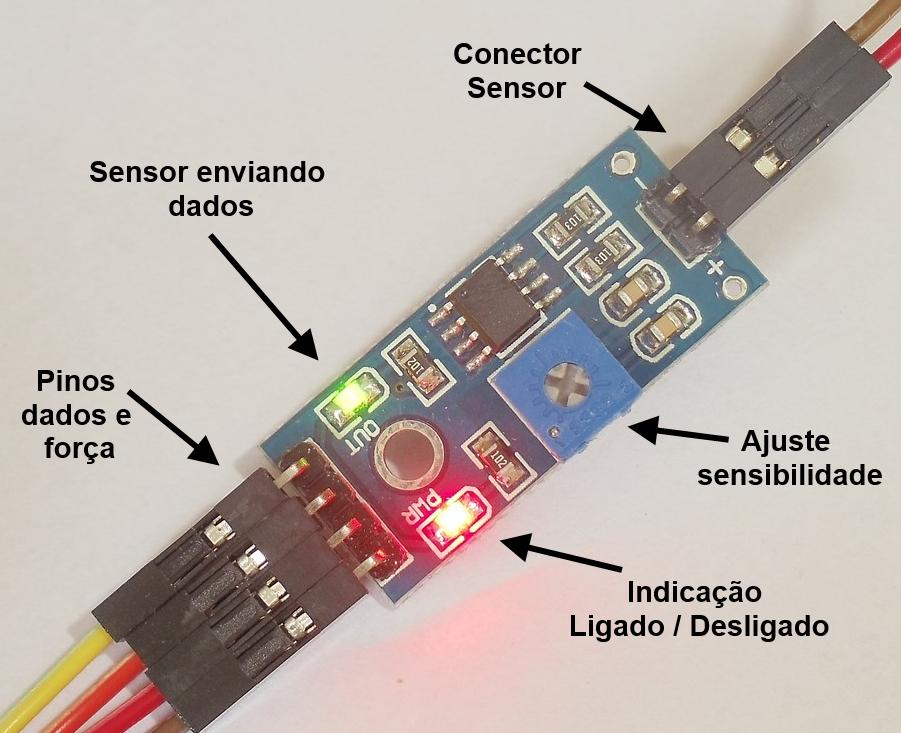 Sensor de chuva Arduino - Pinos e Leds