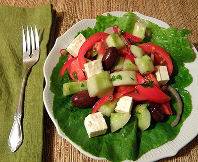 Individual Plate of Greek Salad
