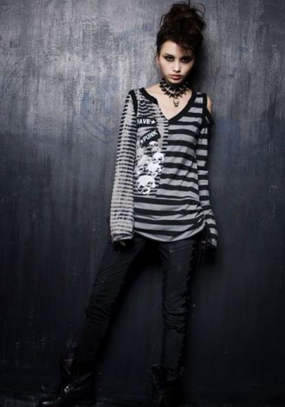 Striped Punk T-Shirt for Women