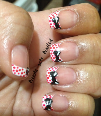 Red Polka Dot French Manicure Black Bow