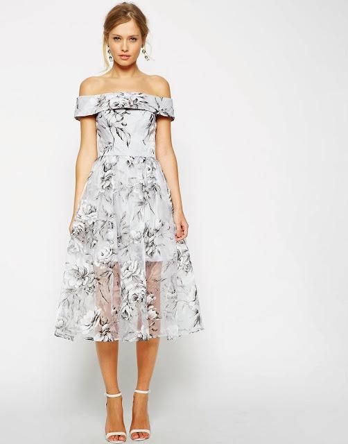 grey print bardot dress, grey wedding guest dress,
