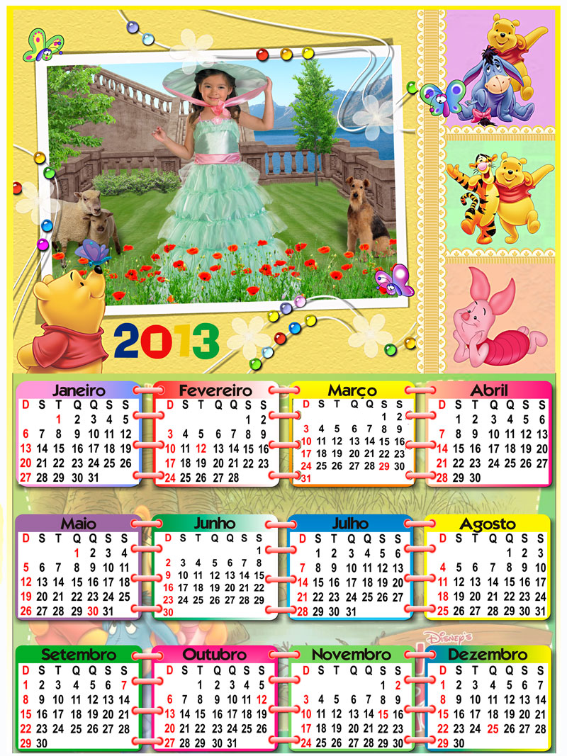 Calendario 2013 PSD   Espa  O Para Uma Foto Do Ursinho Winnie The