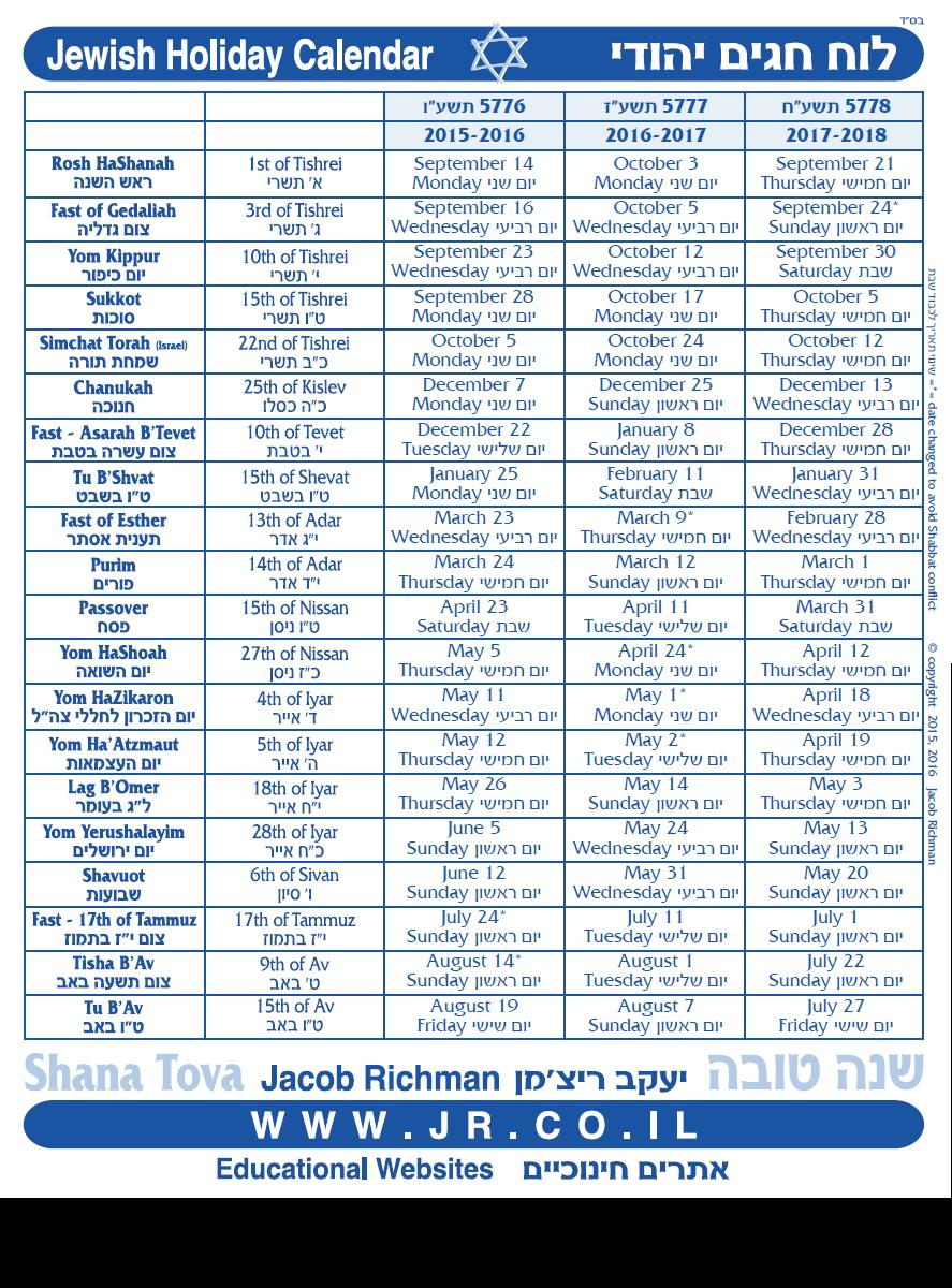 Good News from Israel: 3 Year Jewish Holiday Calendar (5576 5778