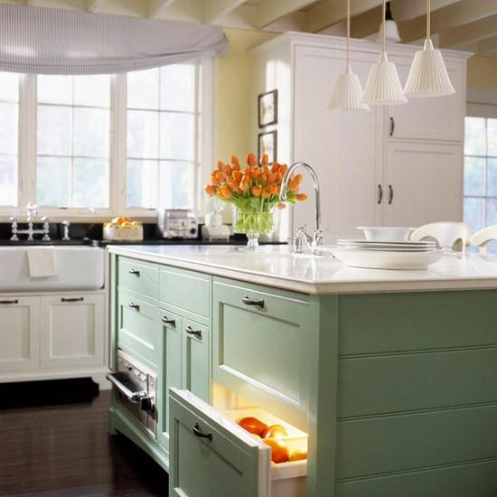 Green Kitchen Lights: Sense And Simplicity: A Rainbow Of Kitchen Islands
