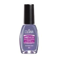 Descrição da imagem: vidro de esmalte da colorama. A cor do esmalte é azul próximo ao violeta. A tampa é preta. Fim da descrição.