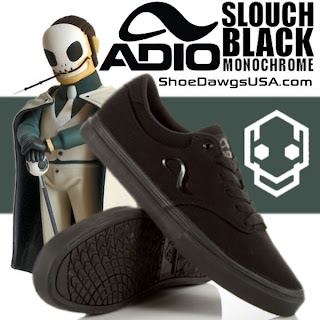 Adio Shoes: The Adio Slouch Shoe Canvas Black Monochrome