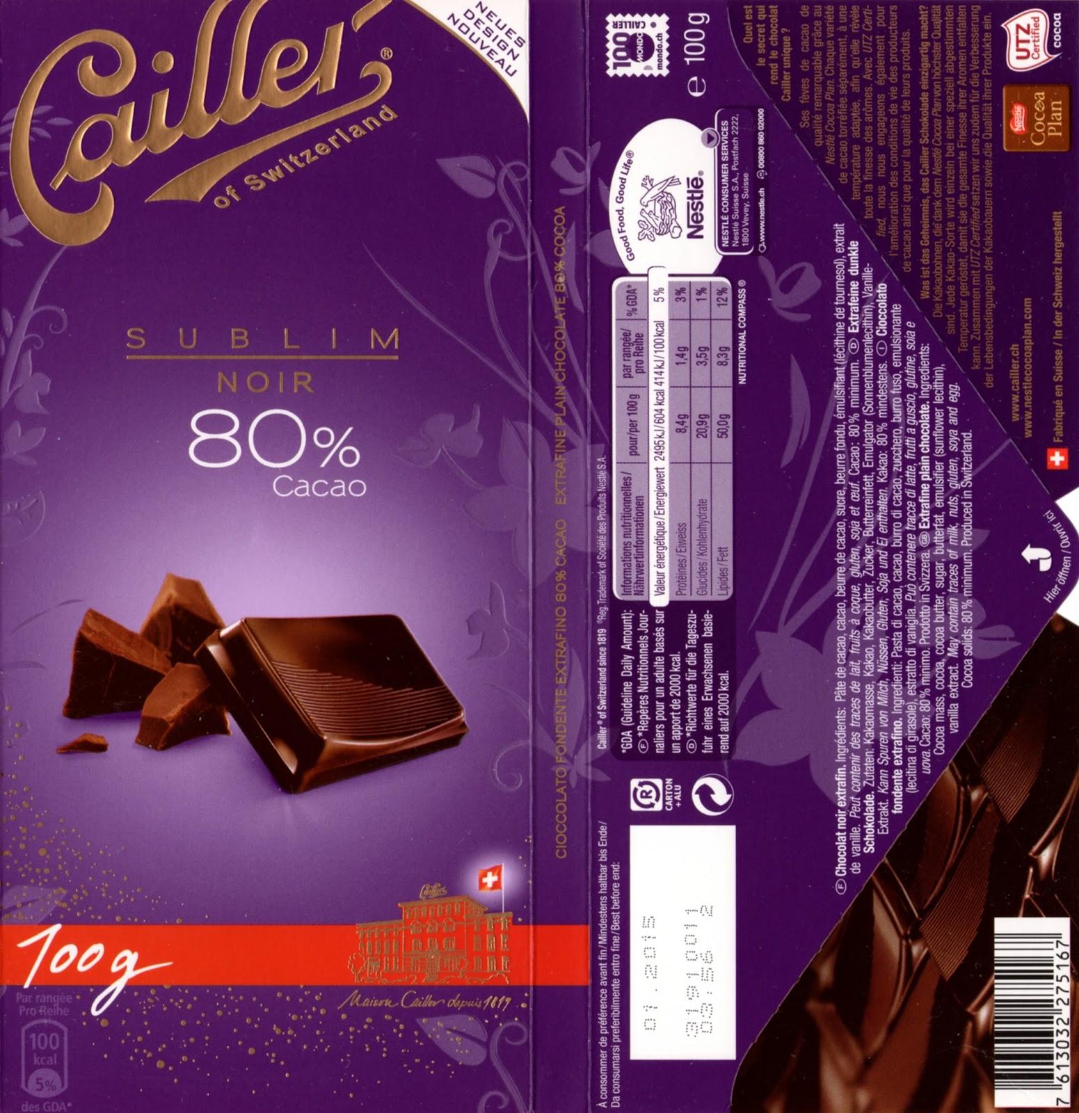tablette de chocolat noir dégustation cailler sublim noir 80