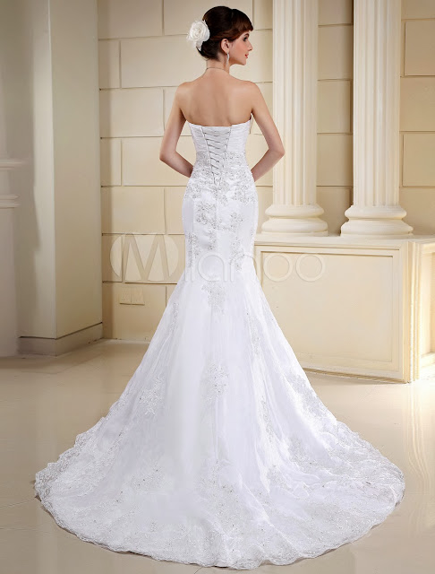 China Wholesale Wedding Dresses - Lace Euro Style White Mermaid Trumpet Strapless Sweetheart Organza Satisn Wedding Dres