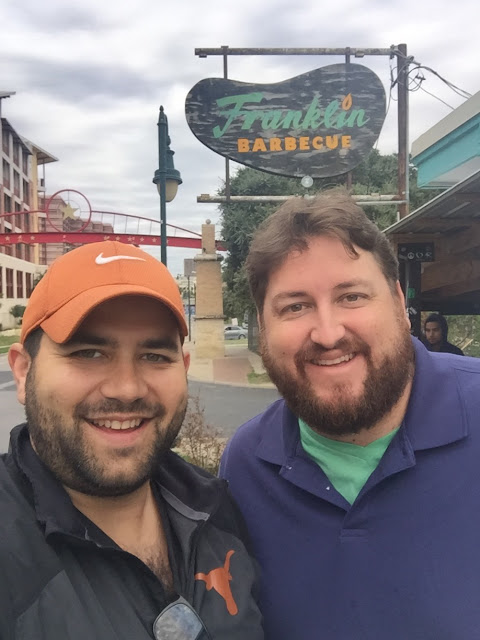 Zac Jiwa and Jay Ducote prepare themselves for Franklin Barbecue in Austin, TX