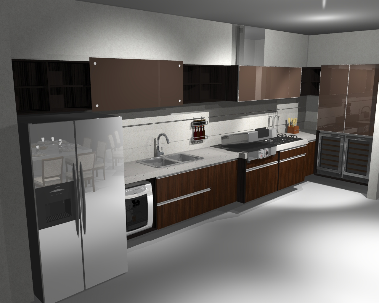 Imagens em 3D do projeto de uma cozinha Gourmet. Projeto realizado em  #5F4E44 1280 1024