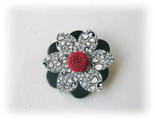 Monochrome Millefiori Floral Brooch