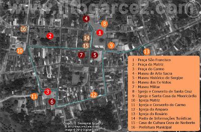 Mapa Turístico do Centro Histórico de São Cristóvão: Em vermelho, as praças; Em vinho, os museus; Em laranja, as igrejas e conventos; Em marrom, outros pontos de interesse turístico.