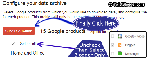 Uncheck all then select blogger only