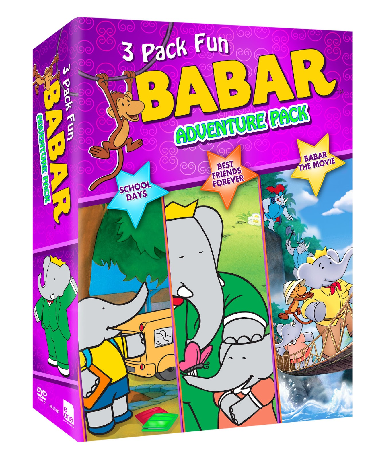 inspired by savannah now available on dvd babar adventure pack 3 dvd set review and. Black Bedroom Furniture Sets. Home Design Ideas