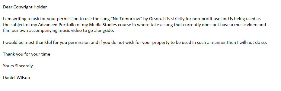 Letter Of Permission For Use Song