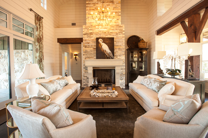 Cottage Living Room With Ceiling Beams On Farmhouse Style Great Rooms