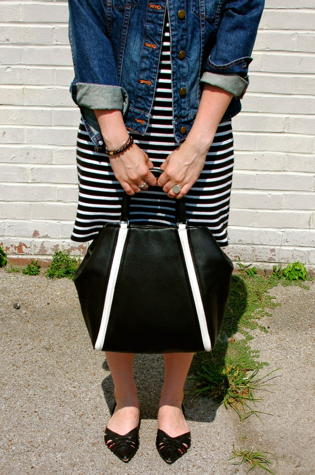 DV D'Orsay flats, black and white bag, Marc by Marc Jacobs, Jean Jacket