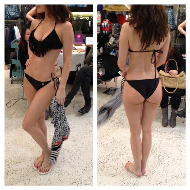 Swimco packing for paradise event fashion show, Black fringe scrunch bum bikini from swimco