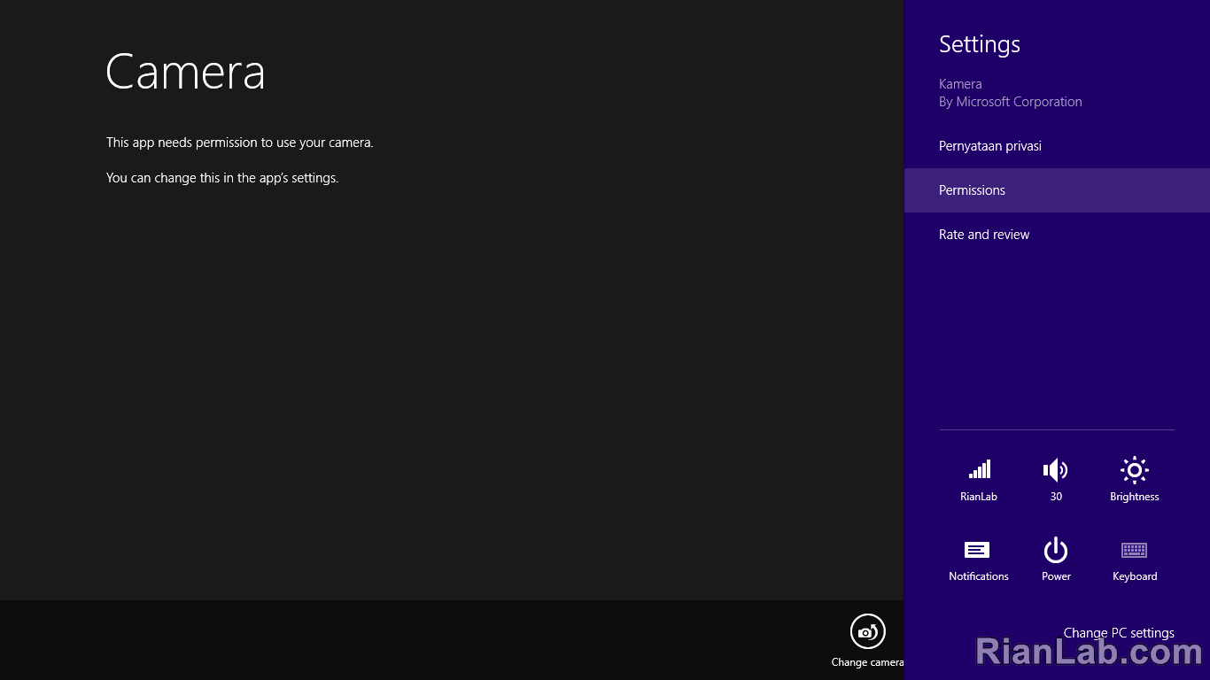 Setting Permission Camera Windows 8