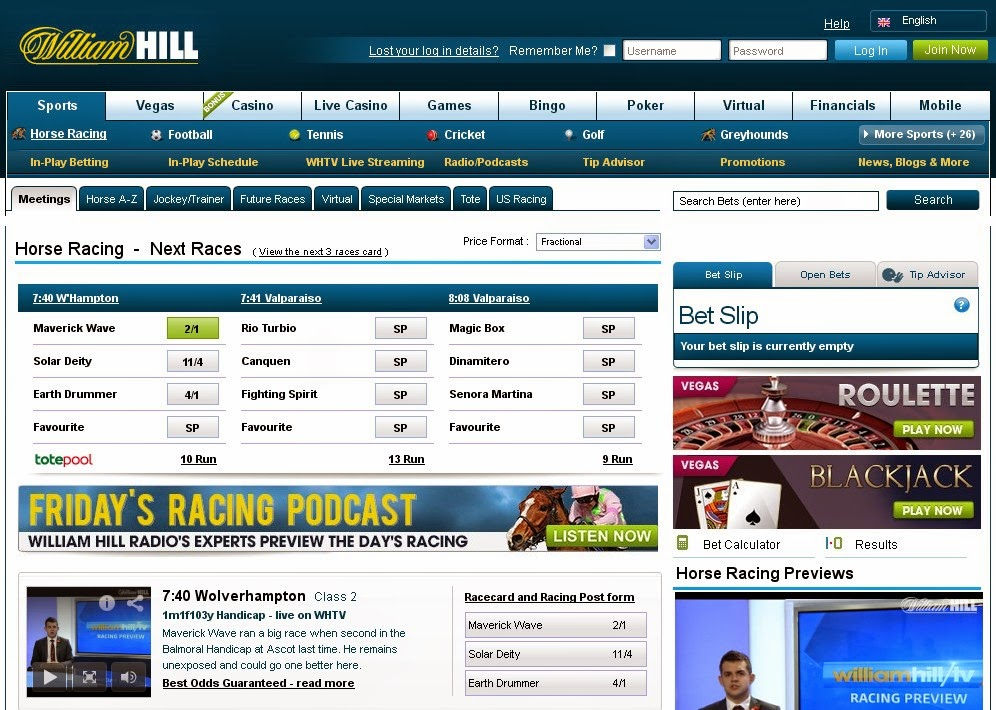William Hill Horse Racing Screen