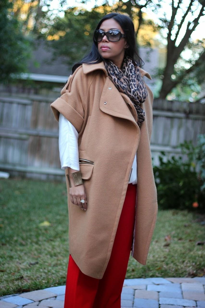 oversize camel coat three floor leopard infinity scarf red wide leg pants