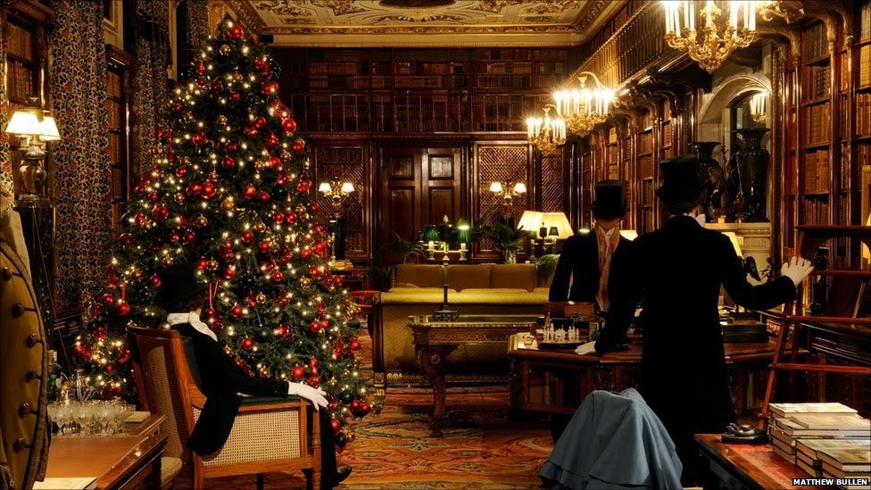 Christmas decorations in the Chatsworth House Library