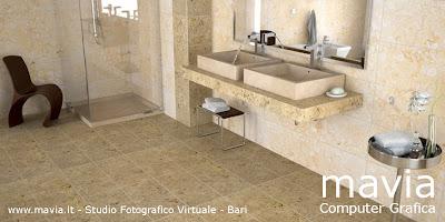 Esterni 3d rendering 3d architettura 3d bagni in muratura for Rivestimenti in travertino per bagni