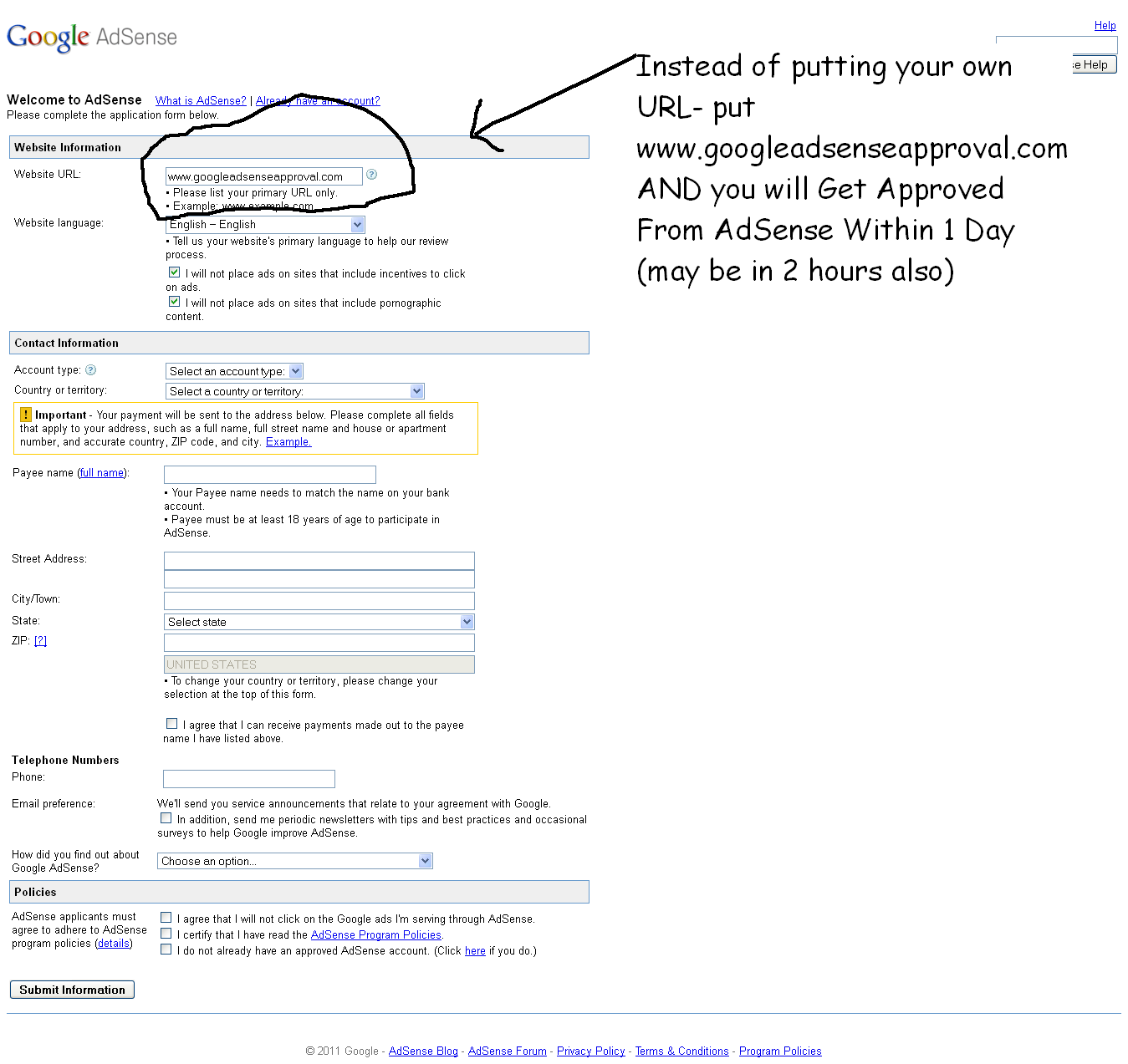 how to make a google adsense account without website