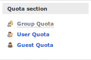 Menu group quota