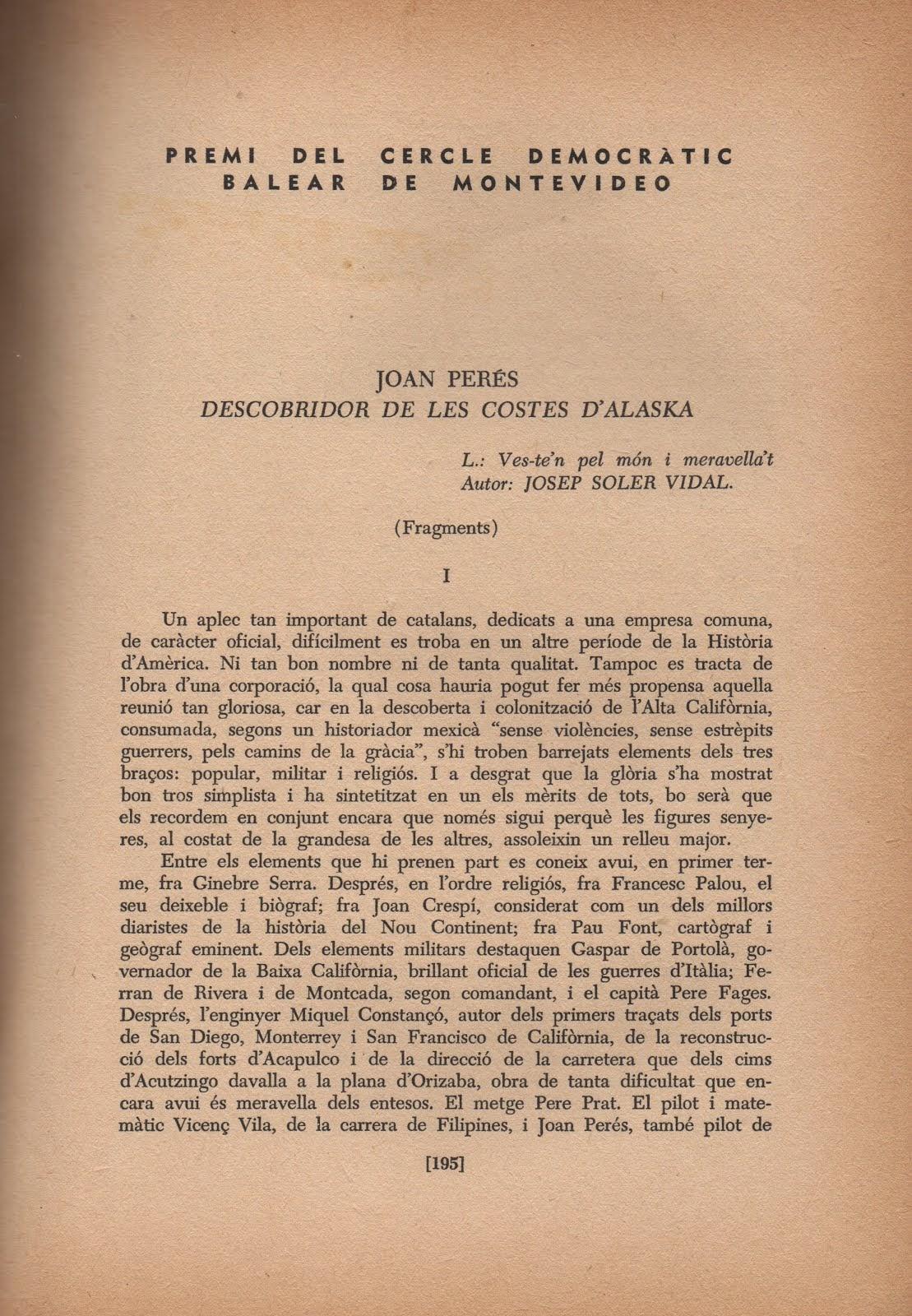Joan Perés, Descobridor de les costes d'Alaska