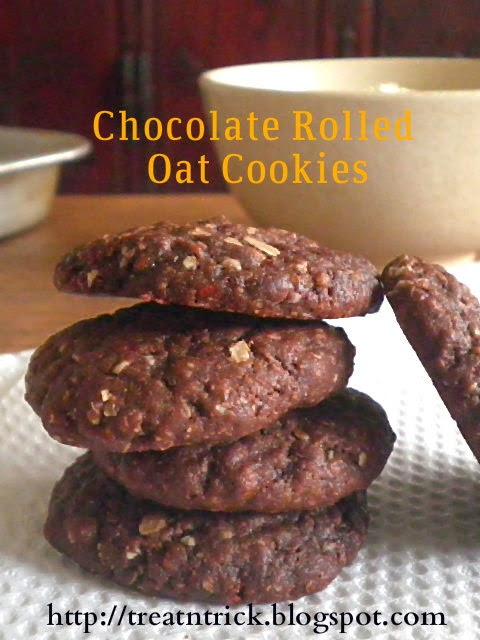 Chocolate Rolled Oat Cookies using cocoa powder