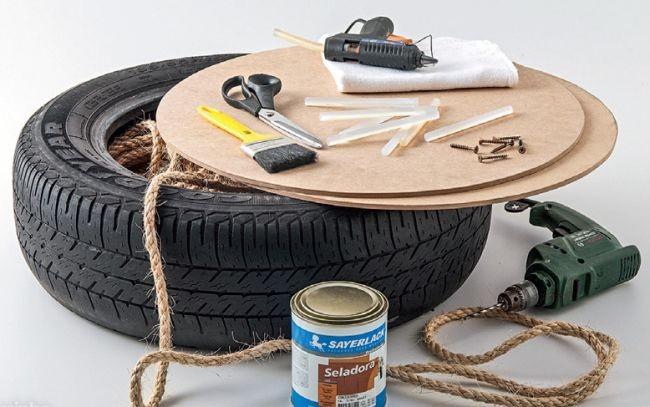 Hazte un puff con cuerda y un neumáticos