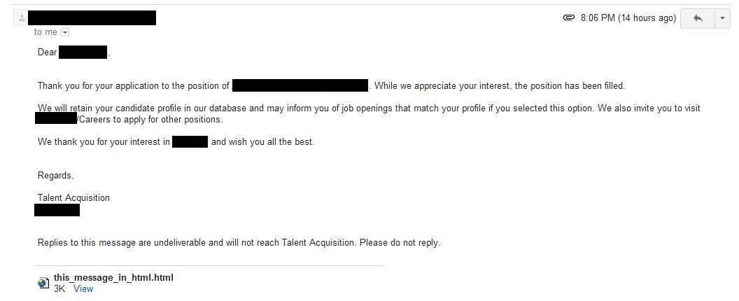 Job Application Letter Rejection