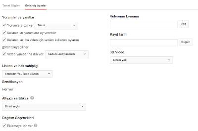 Youtube Kullanım Stratejim -  Video Yükleme Ayarları