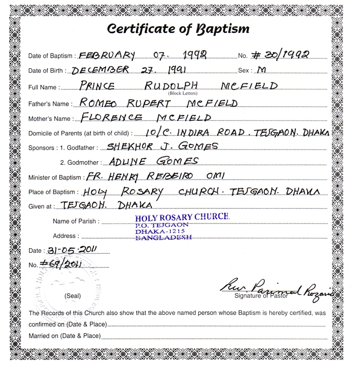 Romeo Mcfield S Personal Blog Baptism Certificate Of Prince Rudolph