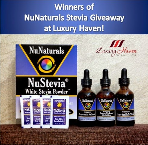 luxury haven nunaturals stevia giveaway winner