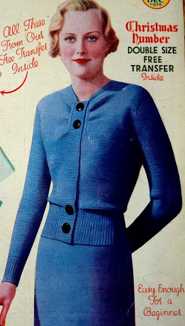 Free 1930's Knitting Pattern Womens Cardigan The Smartest Thing in Plain Knitting