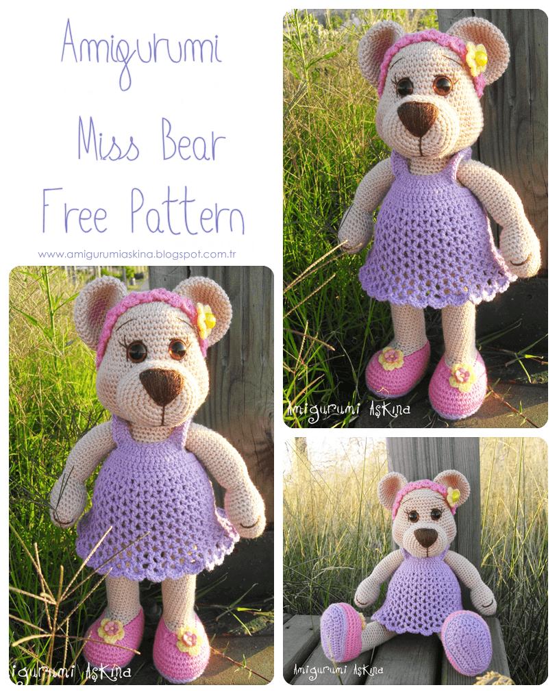 Tiny Amigurumi Bear Pattern : Amigurumi Bayan Ay? Yap?l???-Amigurumi Miss Bear Free ...