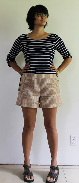 tan striped high waisted shorts