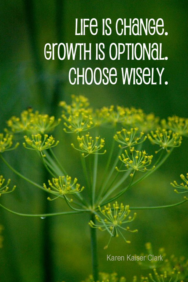visual quote - image quotation for GROWTH - Life is Change. Growth is Optional. Choose Wisely. - Karen Kaiser Clark