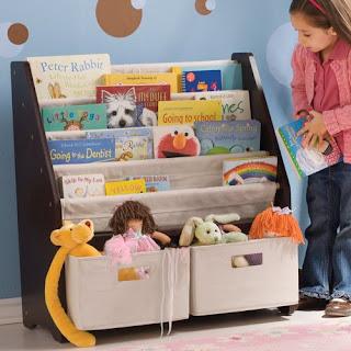 Sling Bookshelf Storage Bins Kids Espresso, Image