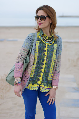 scarf print shirt, sheinside sweater