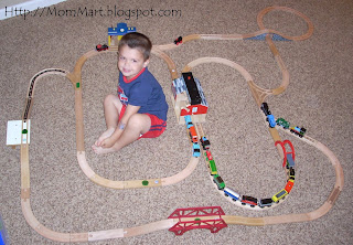 My son and his train track!